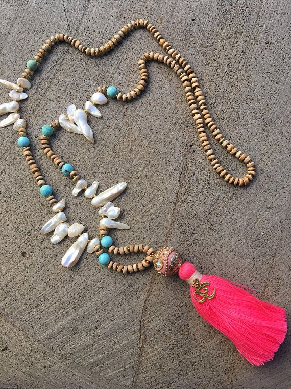 tassel necklace Shell necklace wooden beads pink tassels
