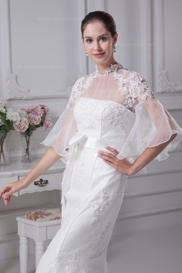 Organza illute heigh neck lace mermaid wedding dress