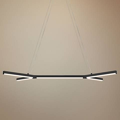 Sonneman bi y 36 3 4 wide satin black led island pendant
