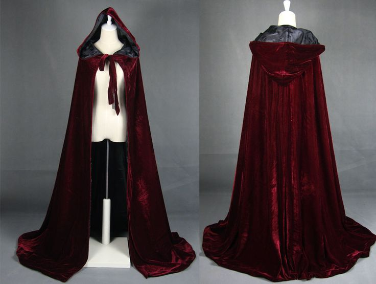 Wine black Velvet Hooded Cloak Medieval Cape Witchcraft Wicca Robe Larp Gothic  #eqjy #CoatsCloaks