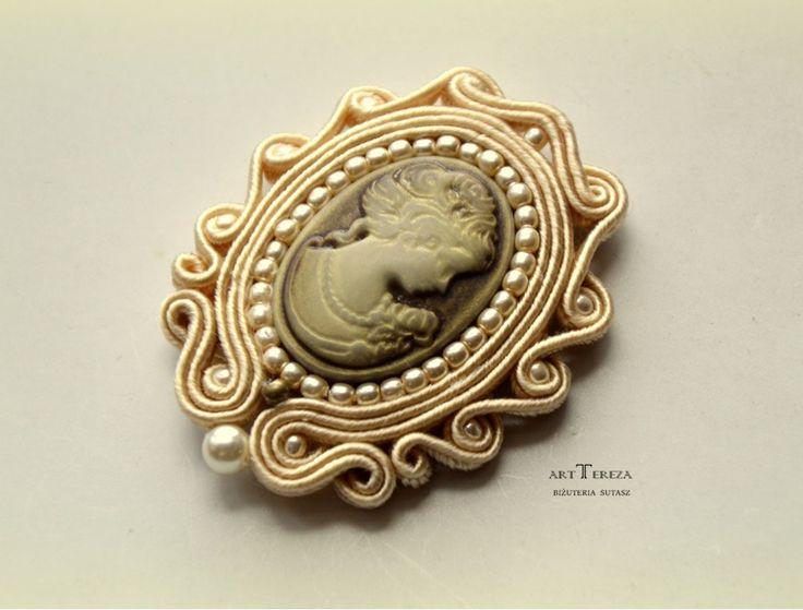 treccia cammeo spilla stile vintage Vittoriano - ART TEREZA - argento spilla di sicurezza