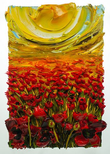 """JUST discovered this guy and I am Mesmerised!! """"Poppies"""" acrylic painting by Justin Gaffrey"""