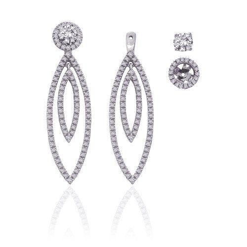 14K White Gold 1 ct. Diamond Detachable Earring Jackets Katarina. $1350.00