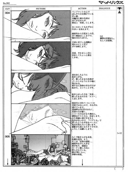 Storyboards illustrated by Satoshi Kon for the animated short Ohayo (オハヨウ). See more selections from Kon's Works 1982-2010.