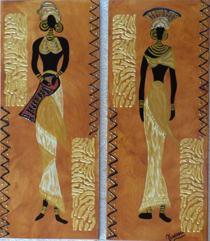 Africanas, díptico, textura mixta