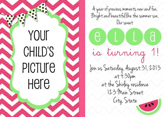 39 best watermelon birthday party images on pinterest | watermelon, Birthday invitations