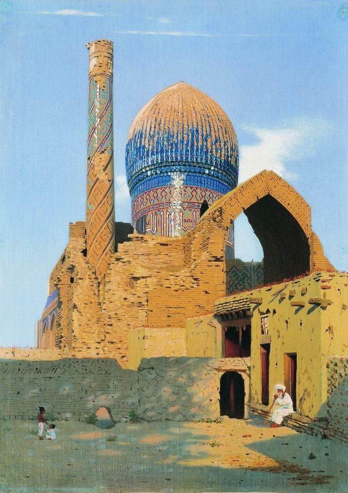 Ruins of the Gur Emir Mausoleum, c. 1870.Samarkand.