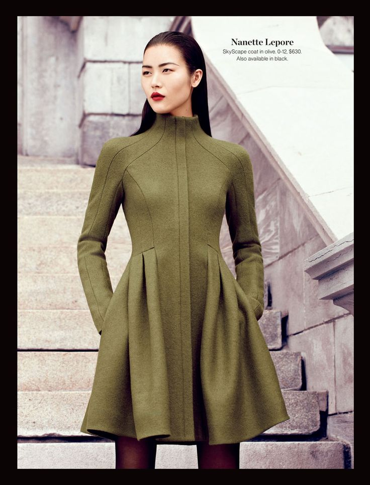 Nanette Lepore SkyScape coat in olive. 0-12, $630. Also available in black. #holtsmag