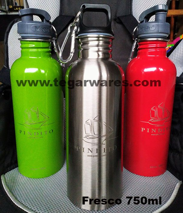 Fresco 750ml stainless steel drinking water bottle green, silver & red         MV Pindito is a liveaboard submarine operating in Raja Ampat with more than 20 years of experience. MV Pindito also opens routes in the Banda Sea and expands routes for the Raja Ampat and Komodo Island.           To reward the passengers. MV Pindito Management, PT Pinisi Diving and Tourism with offices in Denpasar Bali ordered stainless steel drinking water bottles to Tegarwares with printed ship logo MV Pindito.