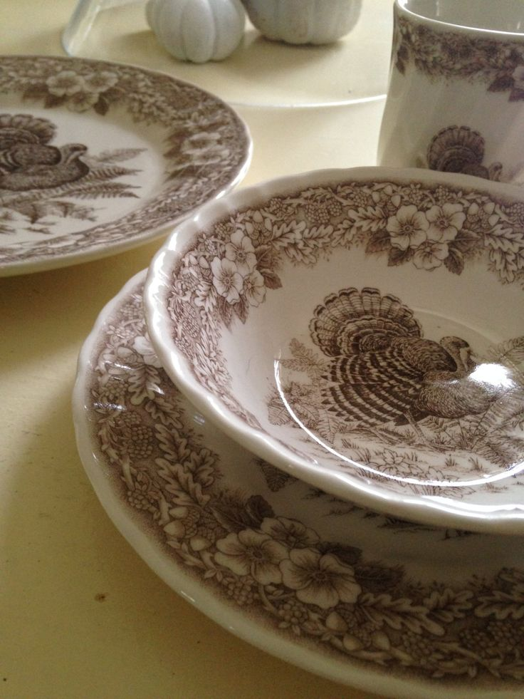 Queen's Thanksgiving dinnerware,Myott China est.1793, Six brown transferware soup bowls,discontinued pattern,holiday china,collectible by whimzeesnest on Etsy