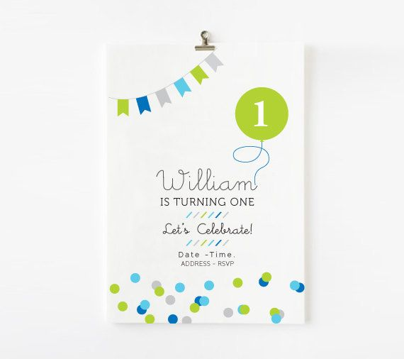 BOYS First Birthday with color giant balloon and confetti Invitation - Bright colors - First Birthday - Customized Printable Invitation