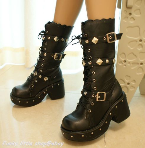 Black 3' Heels Studded Buckle Lace Up Boots Shoes Punk Rock Goth Lolita Emo EGL…
