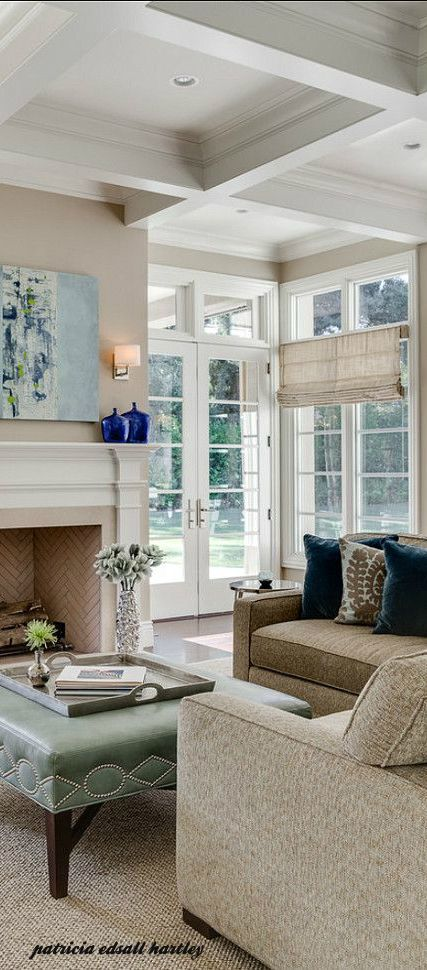 Coffered Ceiling Beautiful French Doors Living Room