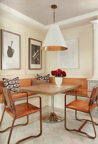 Copper decor ideasDining Room, Decor Ideas, Benches, Breakfast Nooks, Kitchens Nooks, Dining Nooks, Copper Decor, Leather Dining Chairs, Leather Chairs