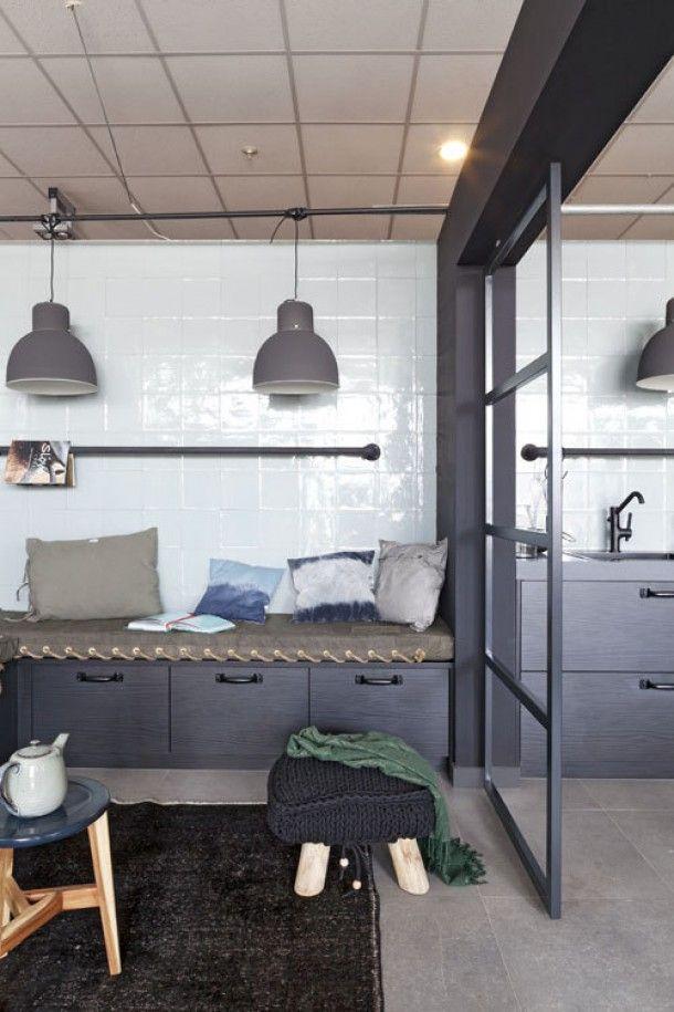 Industrieel grijs/zwart interieur