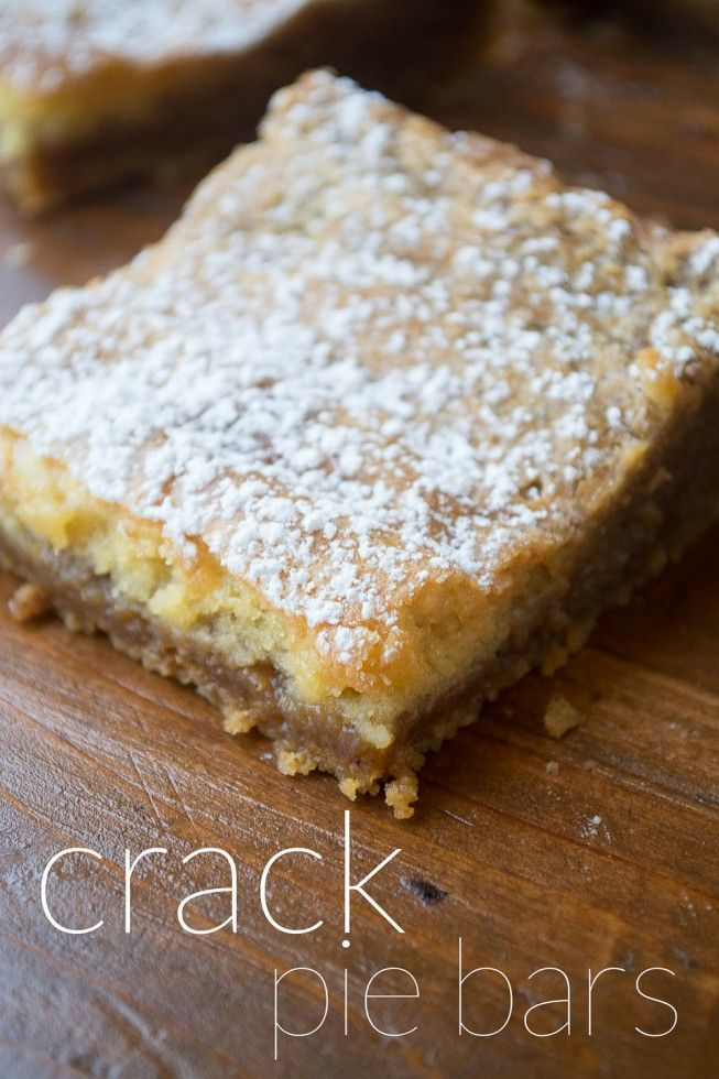 Crack Pie Bars, modeled after the famous Milk Bar Crack Pie, only soooo much easier!  This looks to be good. Gotta try it!