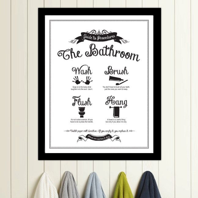 guide to procedures the bathroom 11x14 print bathroom rules sign