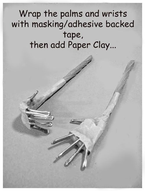 Paper Clays hands and feet... use wire the size that suits your doll to form the frame... then wrap with adhesive backed tape. There is a paper wound tape that is porous, but it's more expensive than masking tape.