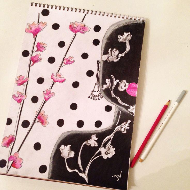 Spring flowers - fashion illustration - mix & match