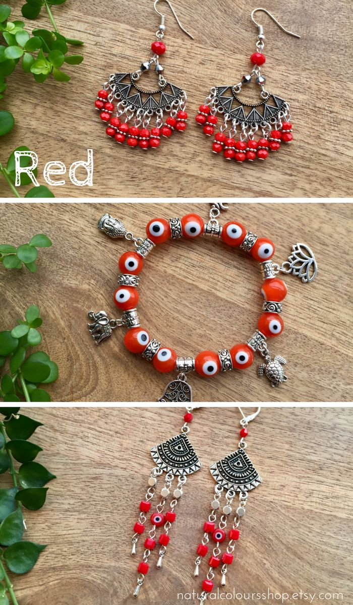 Bohemian Jewelry, Red Jewelry, Red boho Jewelry, evil eye bracelet, tribal earrings, Earrings, Red Earrings, Tribal Earrings, Evil Eye Earrings, Chandelier Earrings, Long Crystal Earring, Gift for her, Boho Gift #redjewelry #redearrings #redbracelet #bohojewelry #bohemian