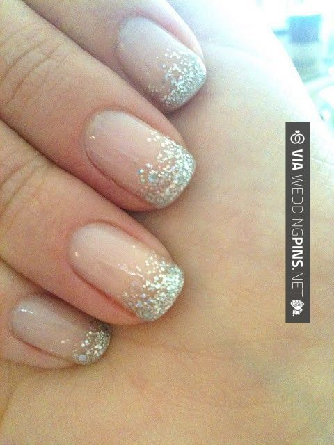 4ab117991e5a31e6a8057bf09ac2e6ca  french manicures sparkly french manicure - Traditional Wedding Nails