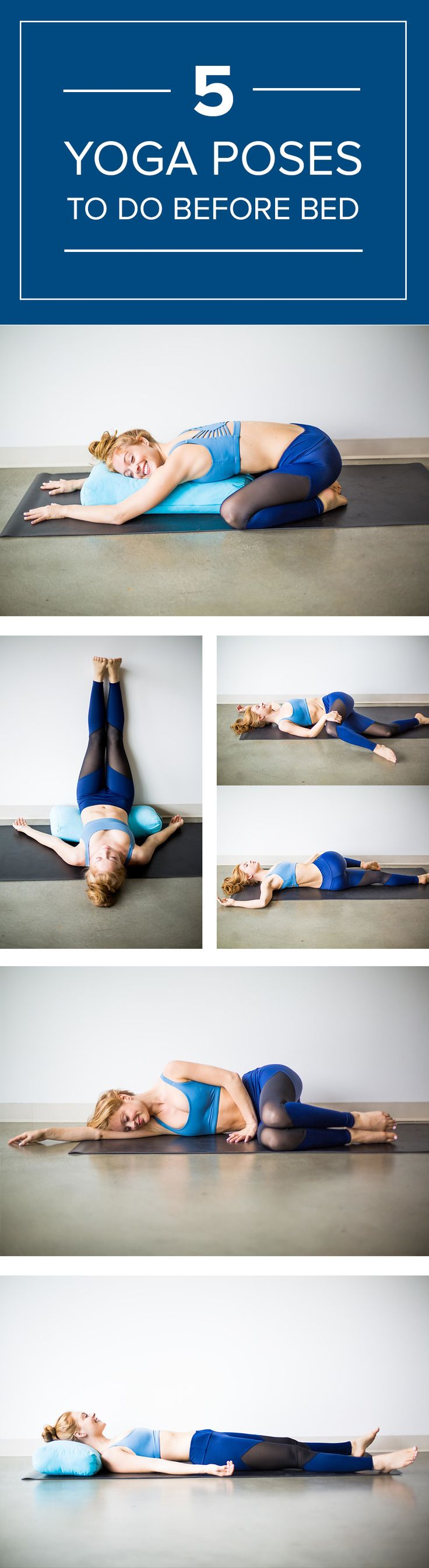 Try these five yoga poses to wind down at the end of the day.