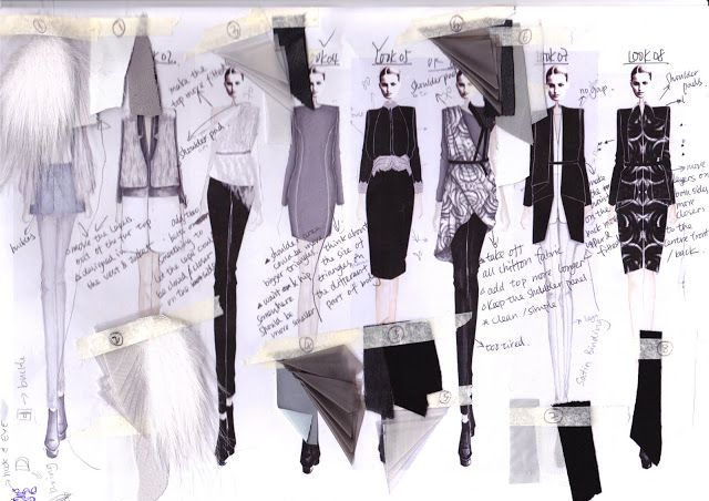 Fashion Sketchbook - fashion illustrations & fabric samples - developing a fashion collection; fashion design process // HAN GU . UNI