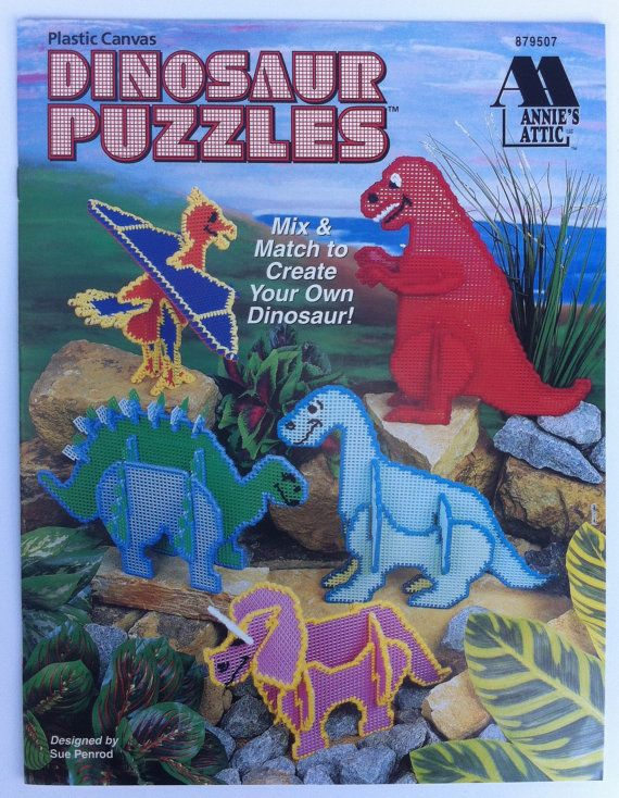 Dinosaur Puzzles quick and easy plastic canvas patterns. Annie's Attic 879507 3D dinosaur puzzle book.  Instructions to make following 3d puzzles: - pterodactyl - stegosaurus - brontosaurus - tyrannosaurus - triceratops