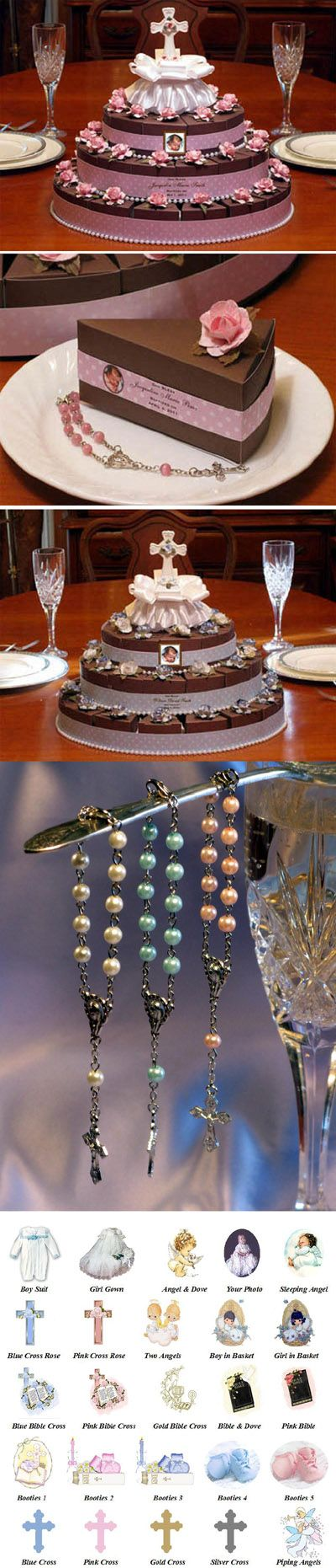 No real use for it now, but I think this is a great favor - Baptism Christening Rosary Favor Boxes Cake Centerpiece