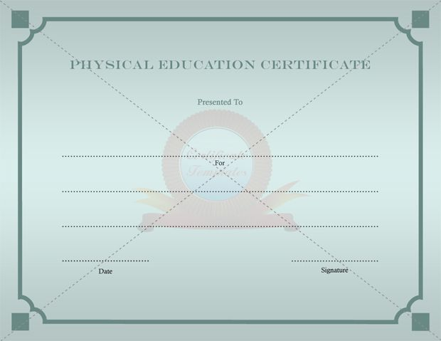 9 best PHYSICAL EDUCATION TEMPLATE images on Pinterest - free perfect attendance certificate template