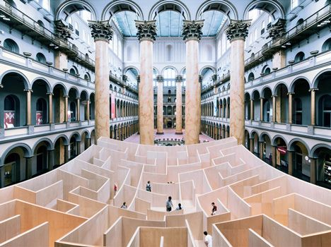 "The more you reach the center, the more obstacles receed; Bjarke Ingels' ""BIG Maze"" opens at Washington's National Building Museum"