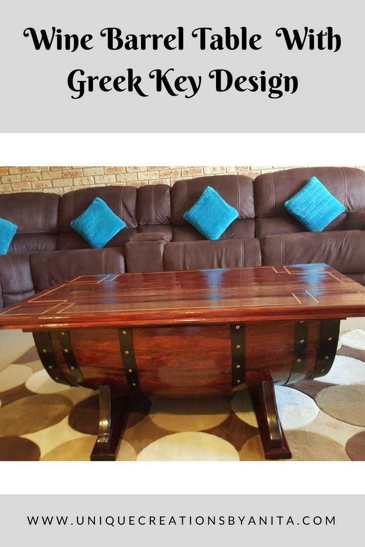 How to make a wine barrel table with greek key design on the table top, with built-in storage