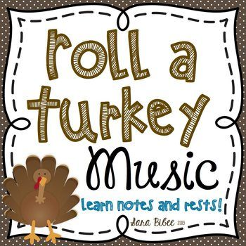FREE! Music Roll a Turkey Game- Learn Notes and Rests!: