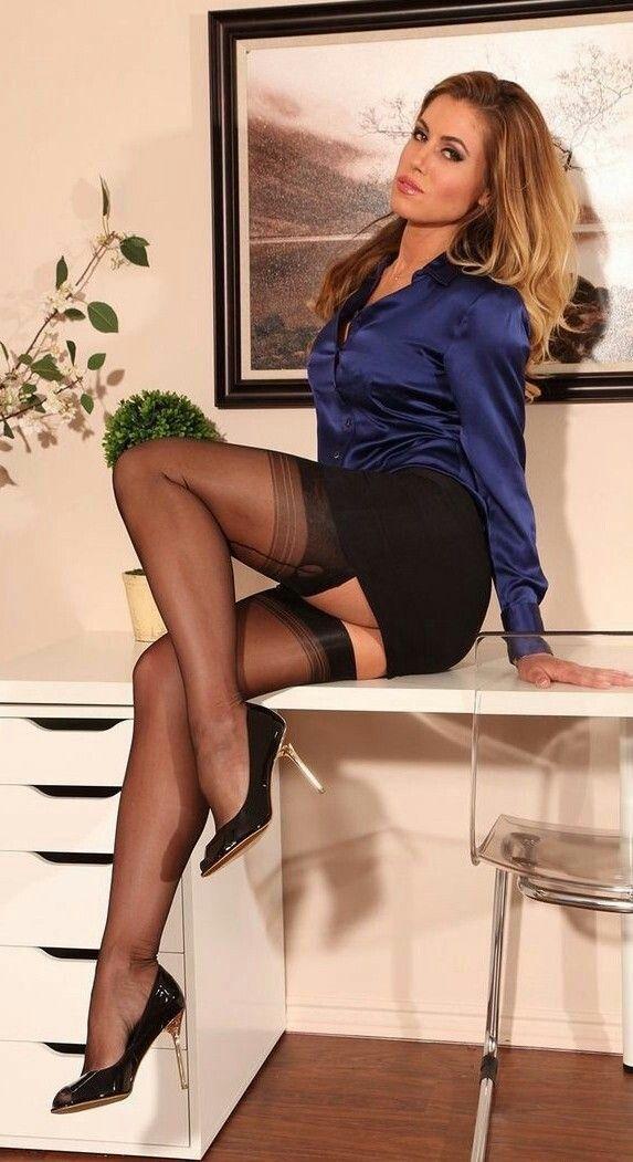 Mature secretary in high heels