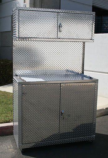 4 Foot Set Of Diamond Plate Garage Cabinets   Car Guy Garage