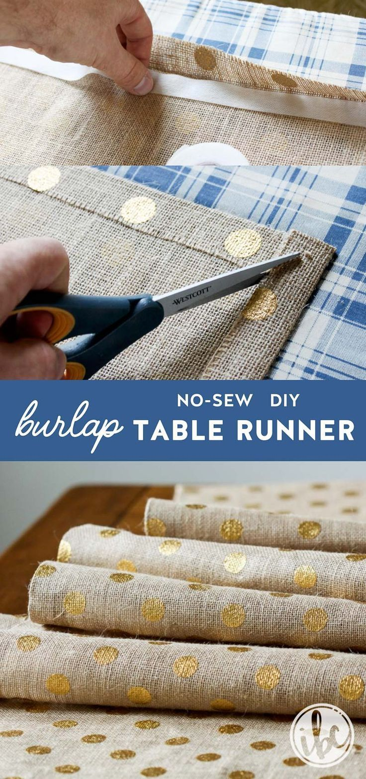 Step By Step Tutorial For Making A No Sew Diy Burlap Table Runner
