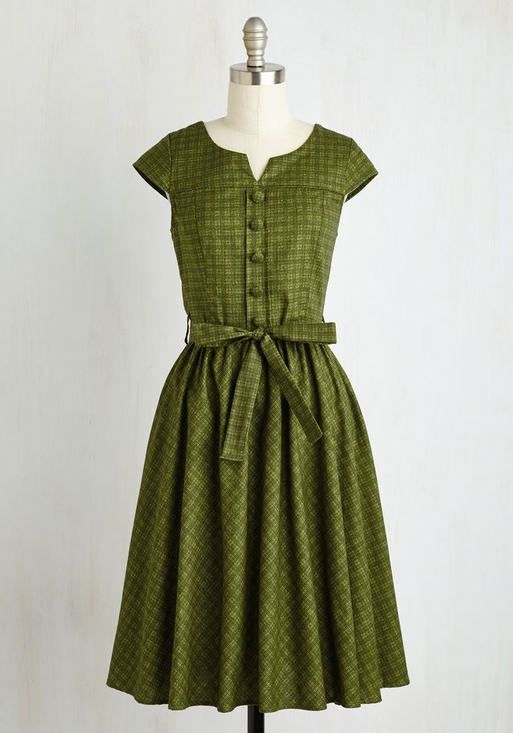 Of Hearth and Home Dress, #ModCloth - I would wear this with a leather belt, boots and a cardigan. Or, imagine it with goldenrod rubber boots!