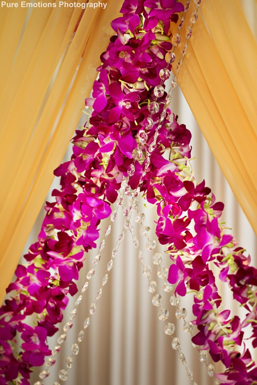 mandap - orchid curtains with crystals fabric