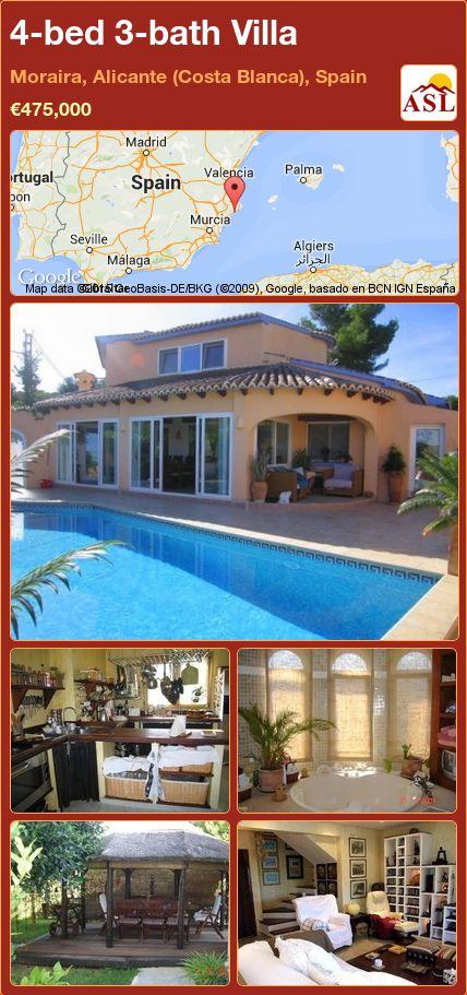 4-bed 3-bath Villa in Moraira, Alicante (Costa Blanca), Spain ►€475,000 #PropertyForSaleInSpain