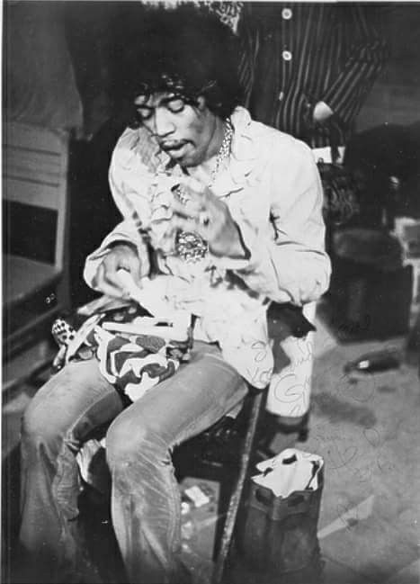 Jimi Hendrix, Backstage Eating Fried Chicken & Waiting For His Set To Begin. Monterey Pop Festival, Sunday June 18th,1967