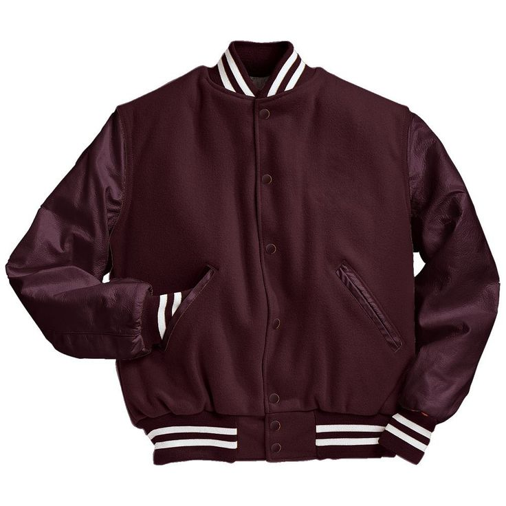 Solid Maroon Varsity Letterman Jacket with White Stripes Black and Light Gold Varsity Letterman Jacket from Mount Olympus Awards.  Genuine leather sleeves and trim with premium melton wool body.  Typically ships in 24 to 48 hours unless customized with embroidery or letterman jacket patches such as a varsity letter.