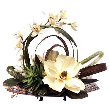 Silk magnolia and orchid arrangement on a silver-toned tray.Product: Faux floral arrangementConstruction Material: Sil...