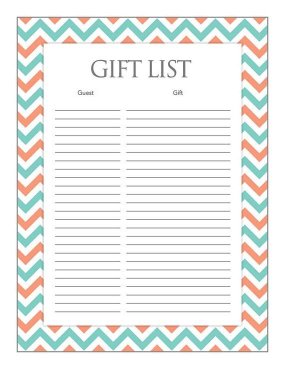 Instant Download Teal Coral Gift List Teal by Studio20Designs