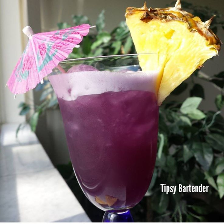 HER PURPLE KISSES ~ 1oz Vodka, 1/2 Pineapple Rum, Grape juice, Pineapple juice, Shake well with ice