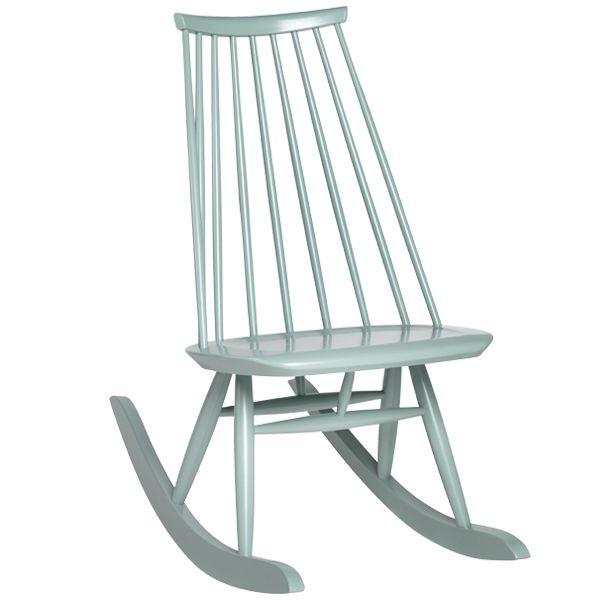 Mademoiselle rocking chair, sage green, by Artek. Design by Ilmari Tapiovaara.
