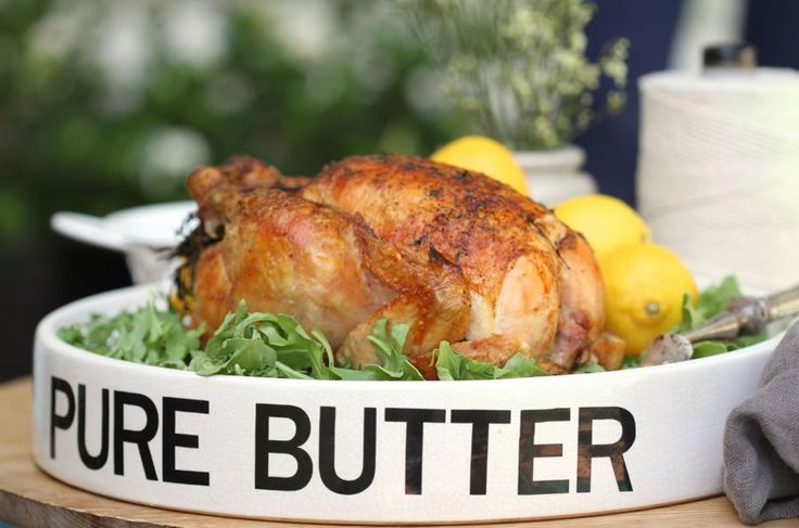 From @Haylie Duff @RealGirlsKitchen Damn Good Roasted Chicken and @Vintageweave Interiors /Kathy Delgado Tray