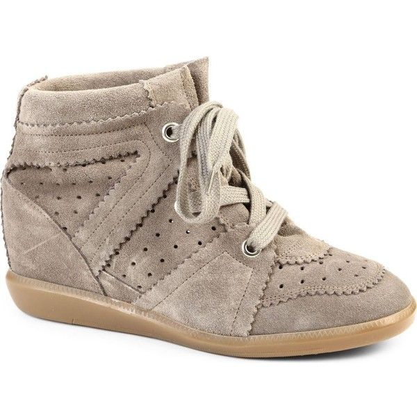 ISABEL MARANT Bobby suede wedge trainers ($560) ❤ liked on Polyvore  featuring shoes,