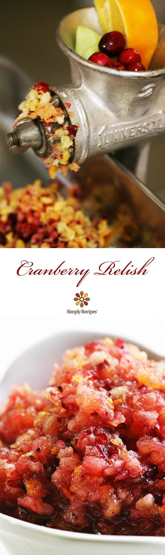 Holiday and Thanksgiving raw Cranberry Relish—fresh cranberries ground up with apples and orange and mixed with sugar. On SimplyRecipes.com