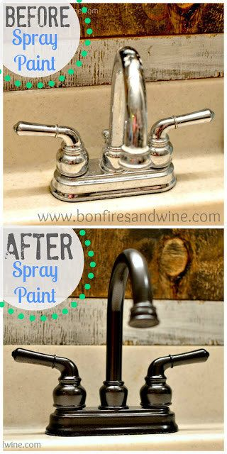 Spray paint a faucet for a a super quick sink facelift. | 31 Inexpensive Ways To Make The Kitchen Your Happy Place
