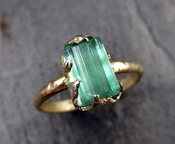 Raw Sea Green Tourmaline Gold Ring Rough Uncut Gemstone Rare color tourmaline recycled 14k Size 6 3/4 stacking cocktail statement byAngeline I
